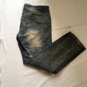 Trillnation Mens Moto Jeans Medium Wash Zipper